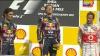Победитель Феттель слушает немецкий гимн, Формула-1, Гран при Бельгия 2011 год